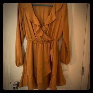 Express silky brown mini dress